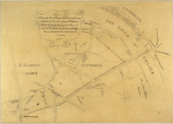 A plan of the road through Westminster and Tutthill Fields, & from St James's Park gate by Buckingham House & from Hide Park Corner to a bridge that is desired to be made over the Thames, 1768
